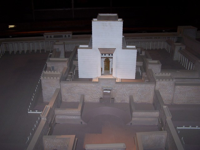Temple Mount West wall excavation - Temple model from the east