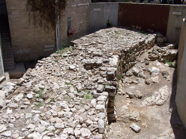 In the heart of the Jewish quarter of Jerusalem,  near the Cardo are these remains of the Wide Wall constructed by Hezekiah to help protect the city.