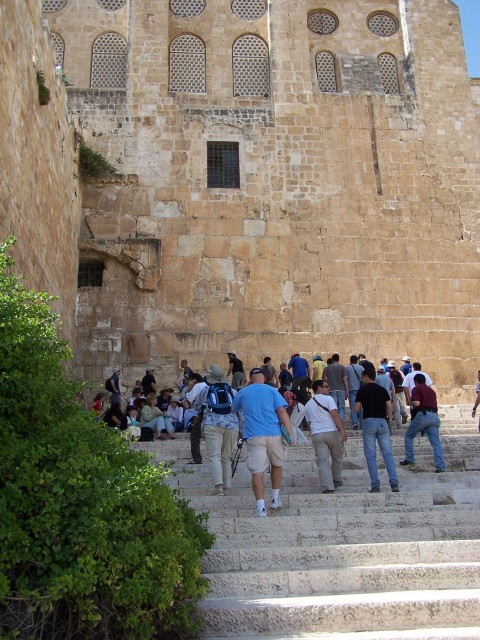 Climbing up the South Temple stairs.  The same ones where Jesus used to talk to the disciples and Pharisees.  Note the Hula gate is sealed and a wall bisects it.