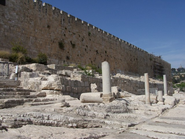South Wall excavation.  Area where ceremonial cleansing occurred.