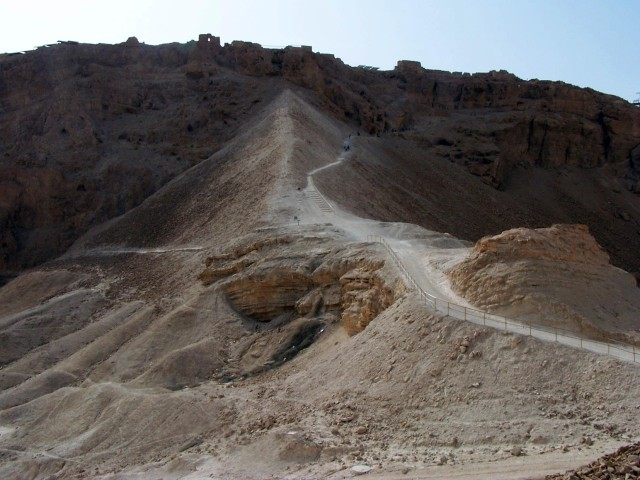 Masada - Seige ramp with visitors path on it's side