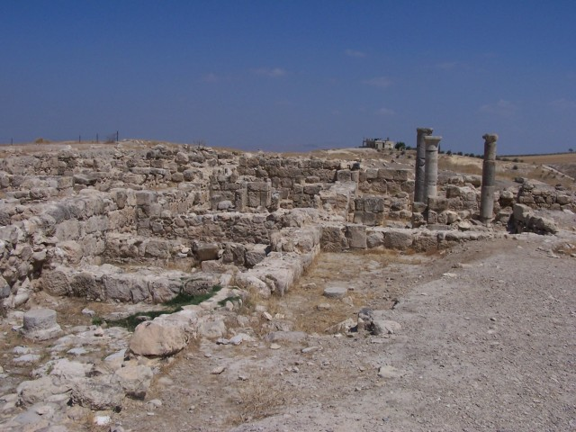 Pella - Excavation site - Local construction materials - Black Basalt.