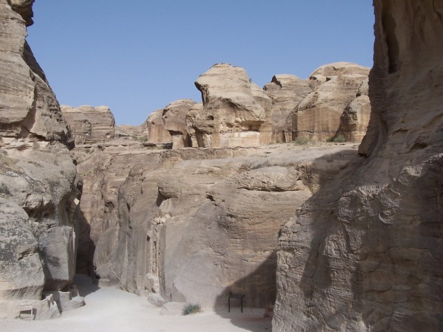 Petra - nearing the start of the siq,  the crevace / canyon that served as the entrance to the petra complex.