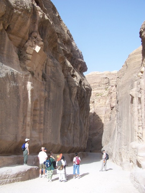 Petra - Here you can just see the edge of the remains of a big arching gate at the entrance of the siq.