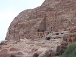 Petra - As the valley opens up,  the one side shows many more elaborately carved tombs.