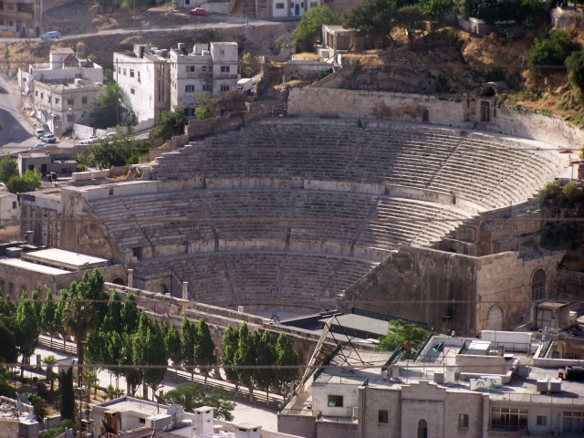 Ammon - Roman Theatre - Three levels of seating partly carved into the mountain and partly constructed out of stone.