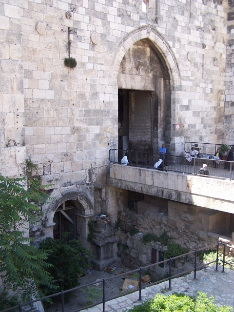 """The Damascus Gate - Note the side gate, visible from lower excavations.  Typical gates were in """"3s"""".  There was a large central gate and a smaller entrance on either side of the central gate."""