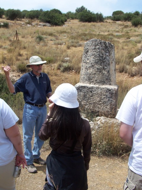 Stopped at a road side Roman Mile Marker